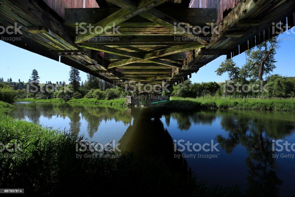 Under Bridge in Rural in Palouse Washington stock photo