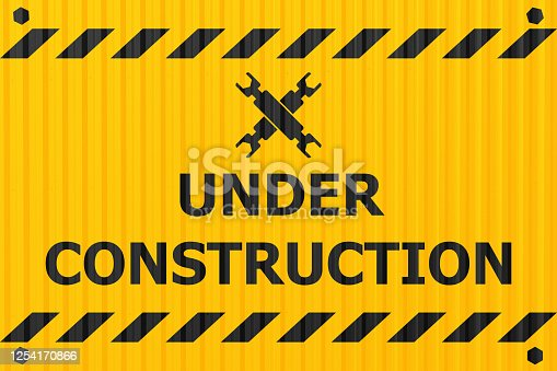 97709303 istock photo under construction banner logo label for construction site or website down notify warning industry steel plate style design. 1254170866