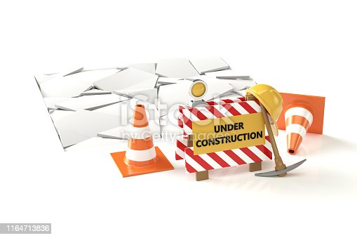 istock Under construction concept 3D image on white backqround 1164713836