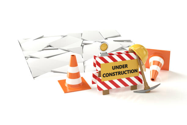 Under construction concept 3D image on white backqround stock photo