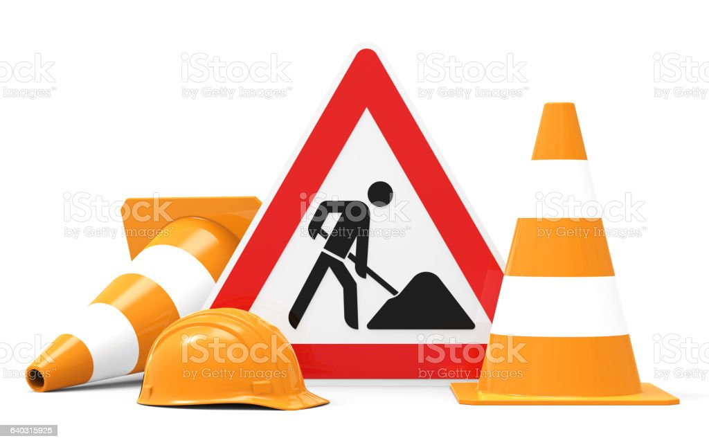 Under Construction, equipment for building worker stock photo