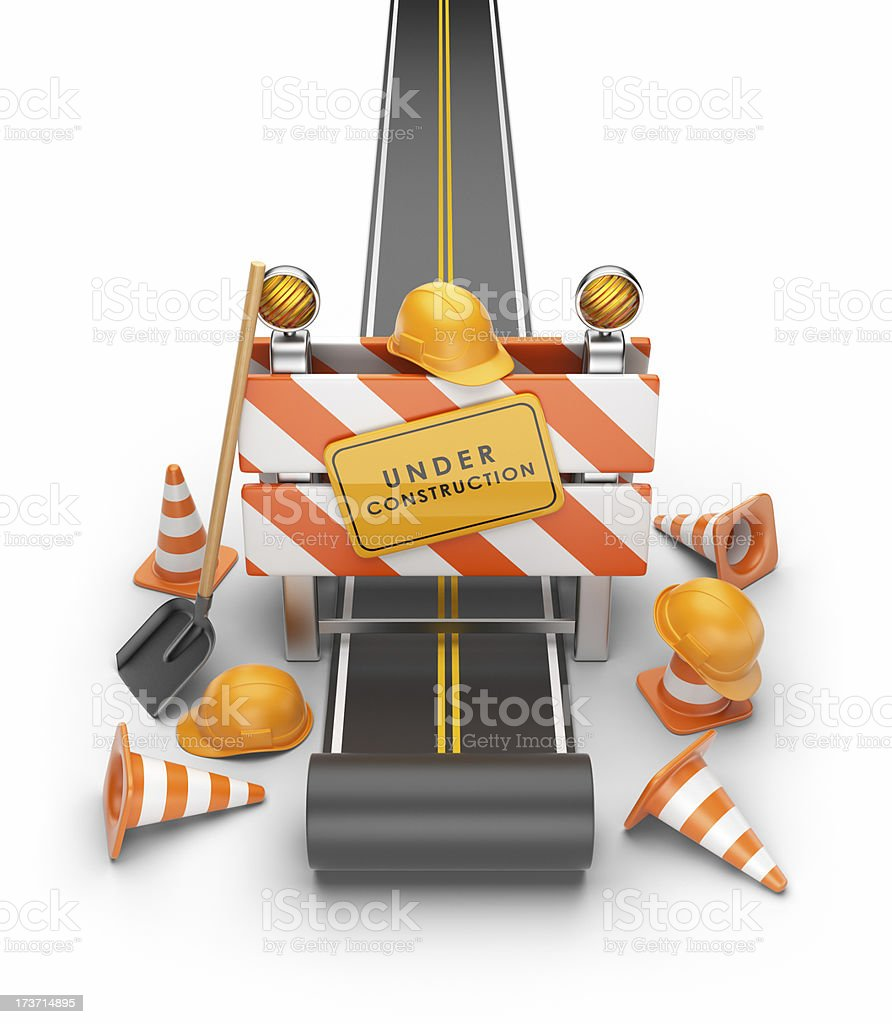 Under construction of road. 3D illustration royalty-free stock photo