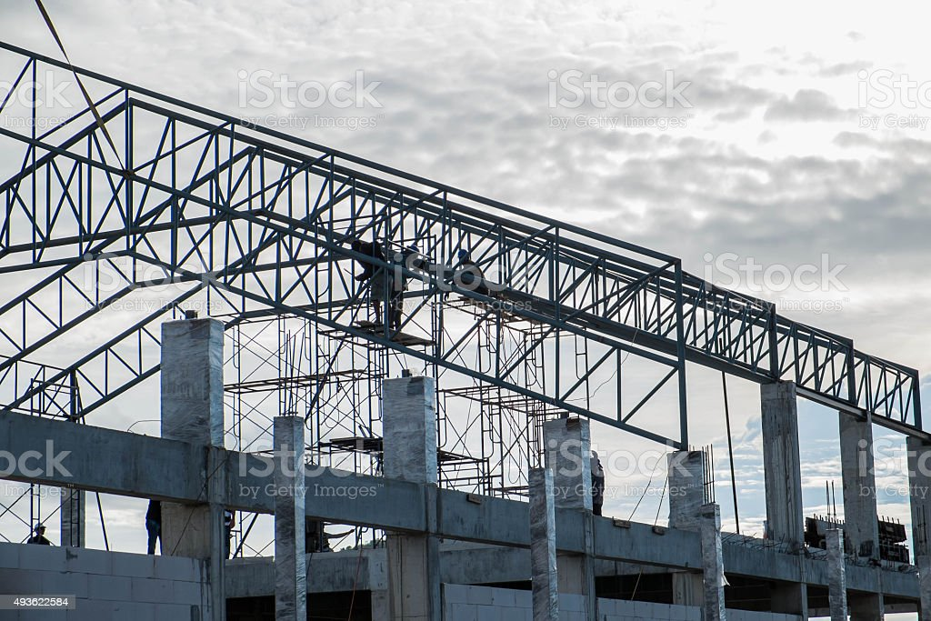 Under construction of roof\'s steel frame and concrete post