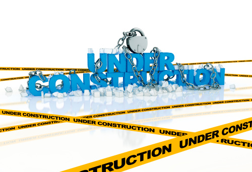 Under construction 3d text composition