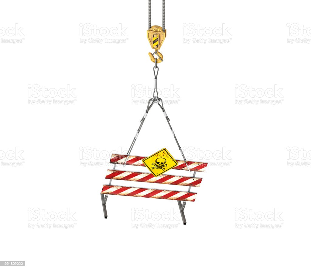 Under construction sign on the rope.3d illustration royalty-free stock photo