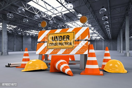 istock under construction sign with barrier and cones 876321672