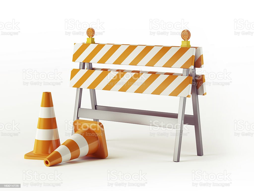 Under construction signs for the public stock photo