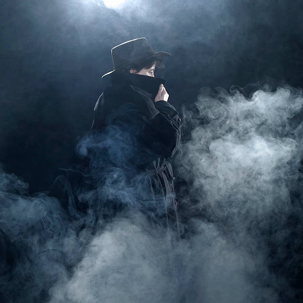 under cover mystic scenery with a coat dressed woman standing in the fog at night arcane stock pictures, royalty-free photos & images