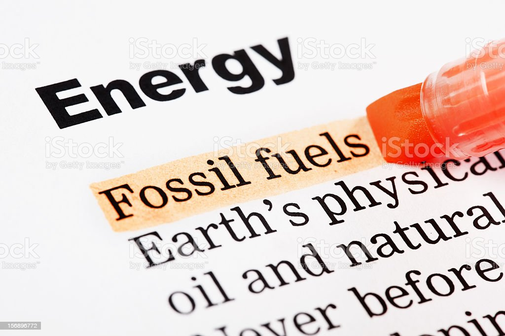 "Under heading "" Energy"", ""Fossil fuels"" is highlighted in orange royalty-free stock photo"
