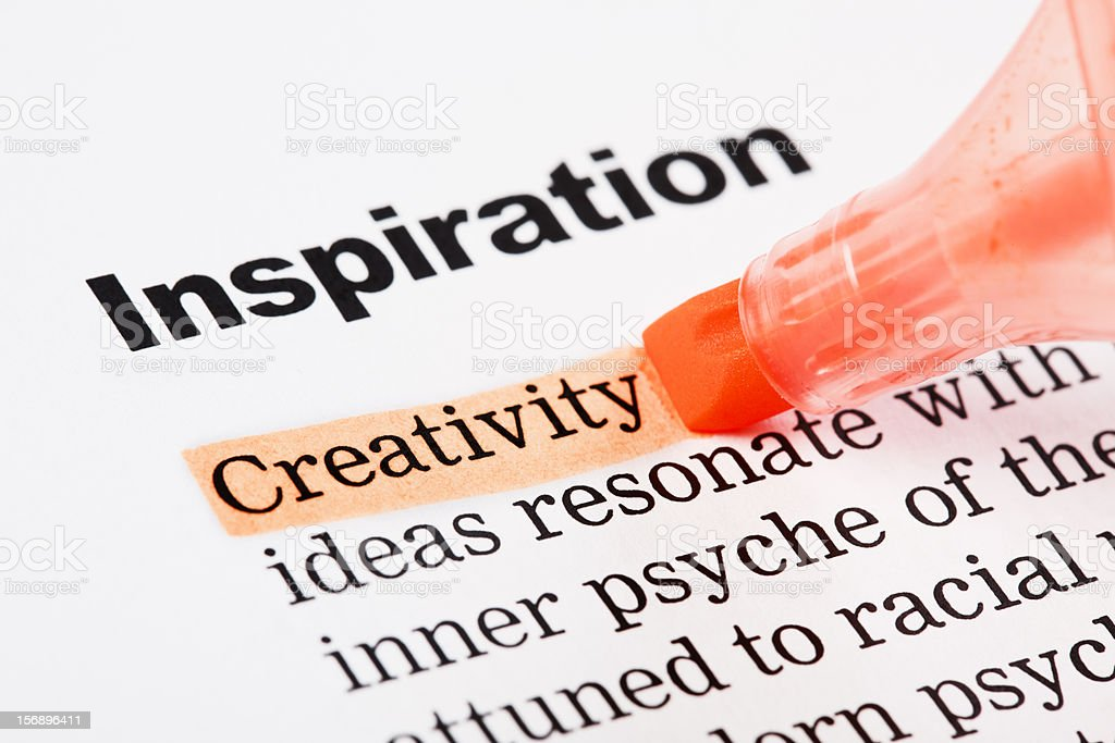 "Under heading ""Inspiration"", ""Creativity"" is highlighted in orange royalty-free stock photo"