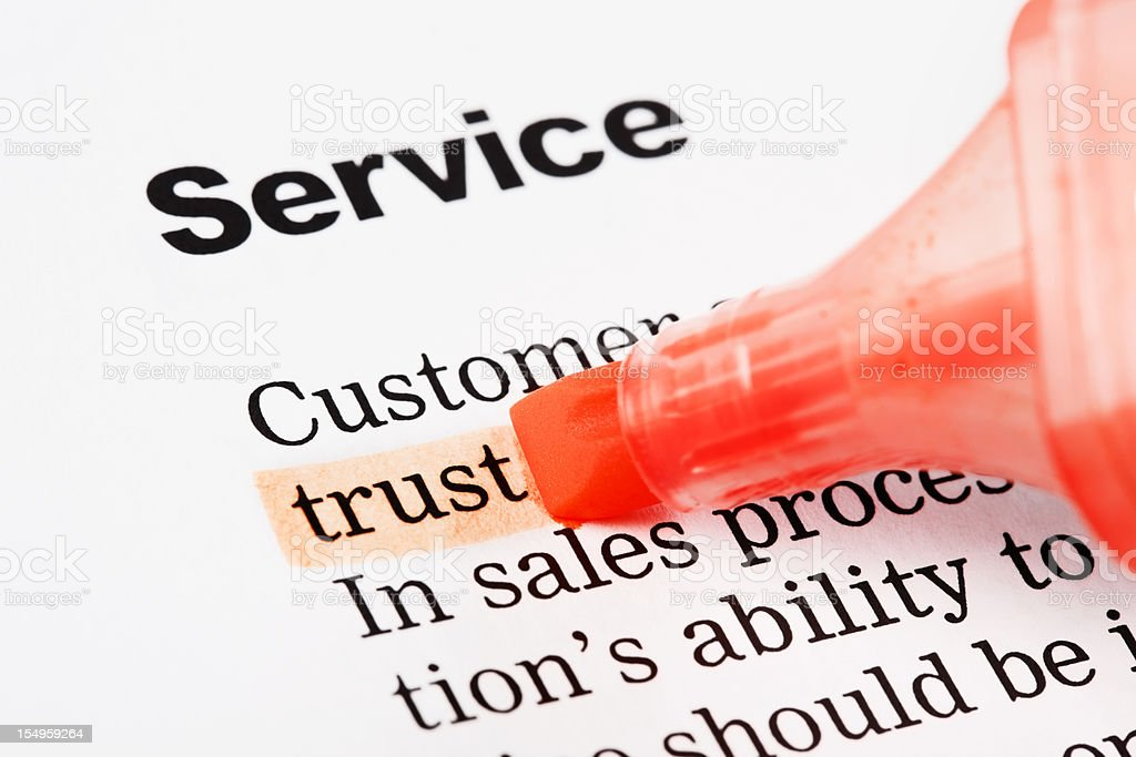 "Under heading ""Service"" the word ""trust"" is highlighted in orange royalty-free stock photo"