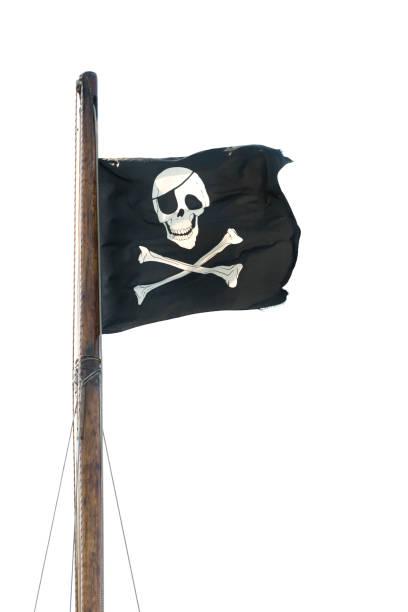 Bajo Jolly Roger.  XXXL Aislado en blanco - foto de stock