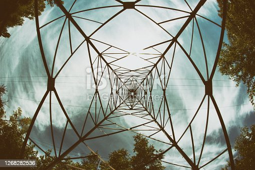 View under power substations, geometric shapes