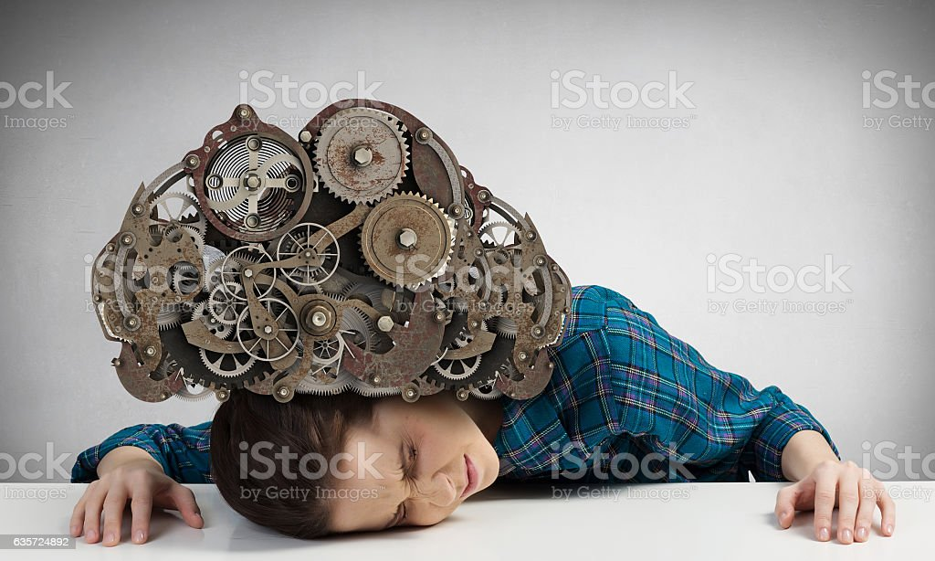 Under pressure of problems . Mixed media stock photo