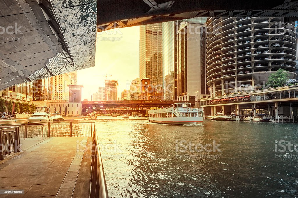 Under the Bridge at Chicago River stock photo