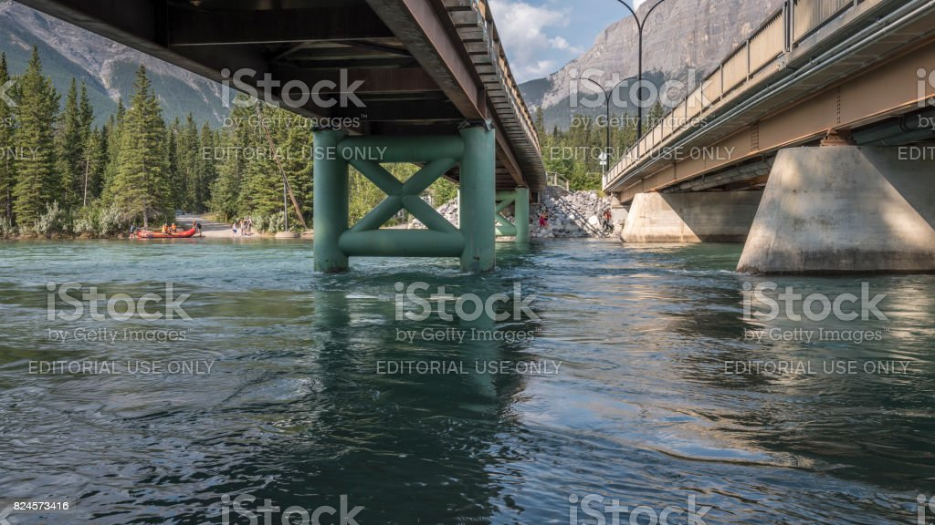 Under the Bridge in Canmore stock photo