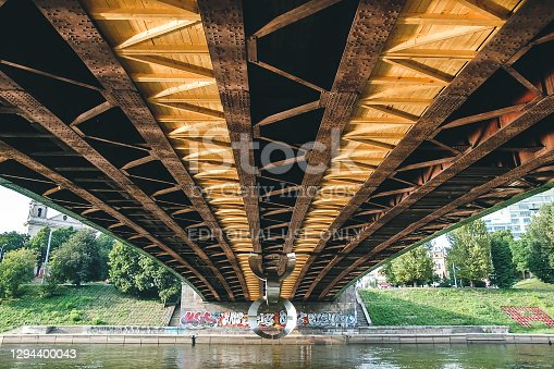 Vilnius, Lithuania - August 11, 2010: View from under the 'Green bridge' in capital of Lithuania - Vilnius. It is an old metal construction bridge. Lots of graffiti art under it. The bridge is over Neris river.
