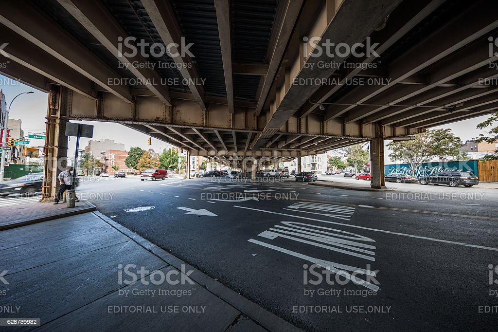 Under the Brooklyn Queens Expy, Williamsburg, New York City, USA stock photo