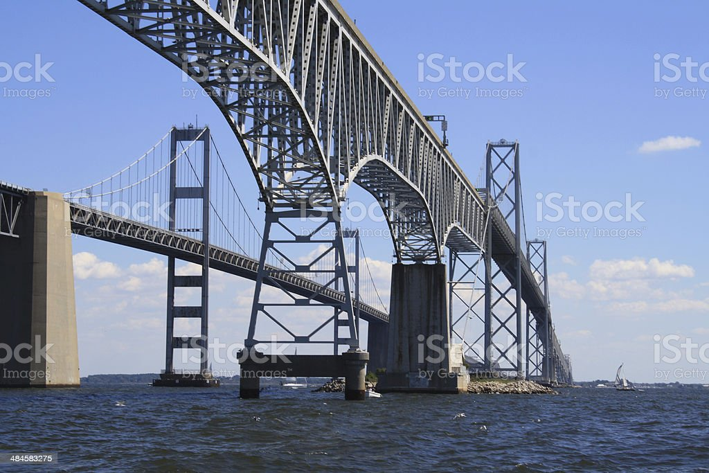 Under the Chesapeake Bay Bridge, View from the South stock photo
