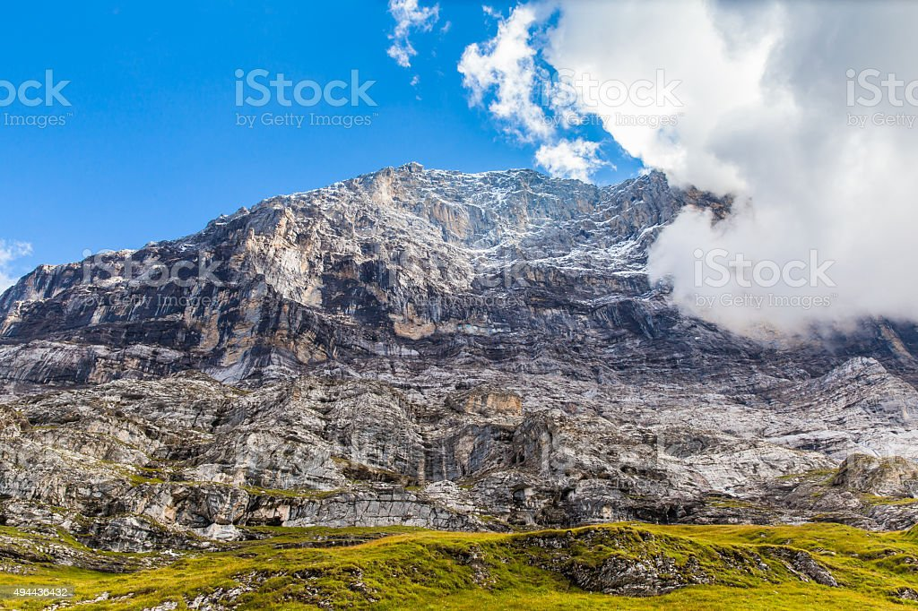 Under the Eiger north face stock photo
