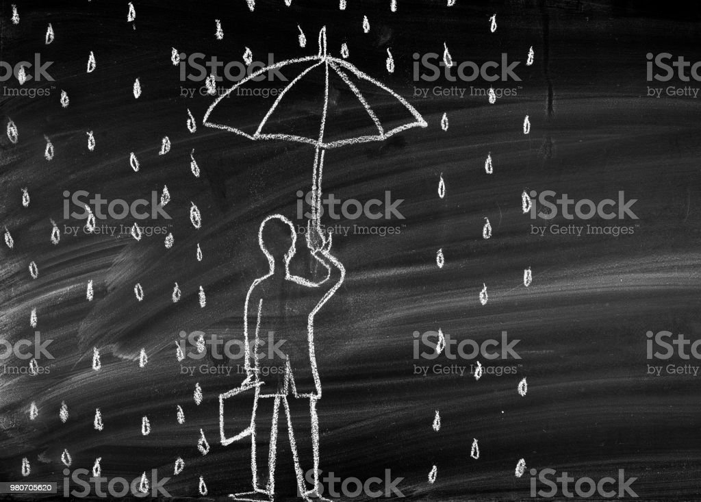 Under the falling rain stock photo