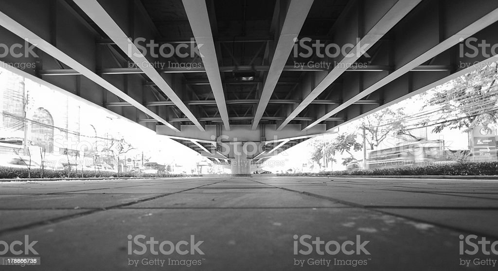 Under the highway bridge stock photo