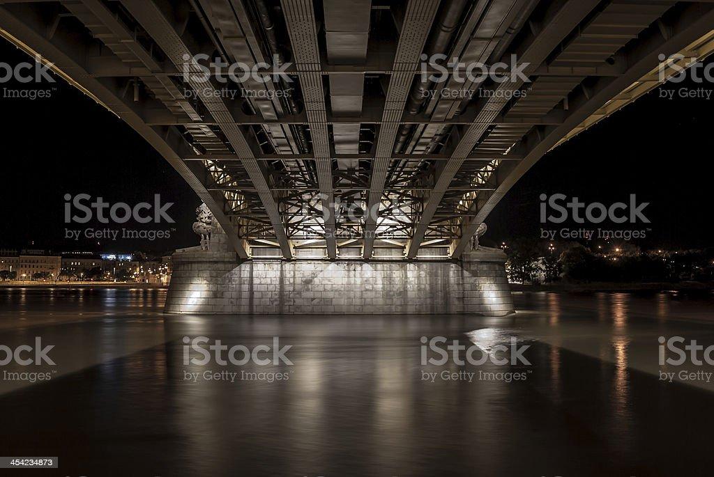 under the margit bridge in budapest, hungaria stock photo