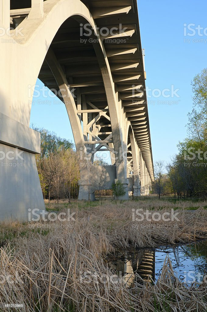 Under the Mendota Bridge stock photo