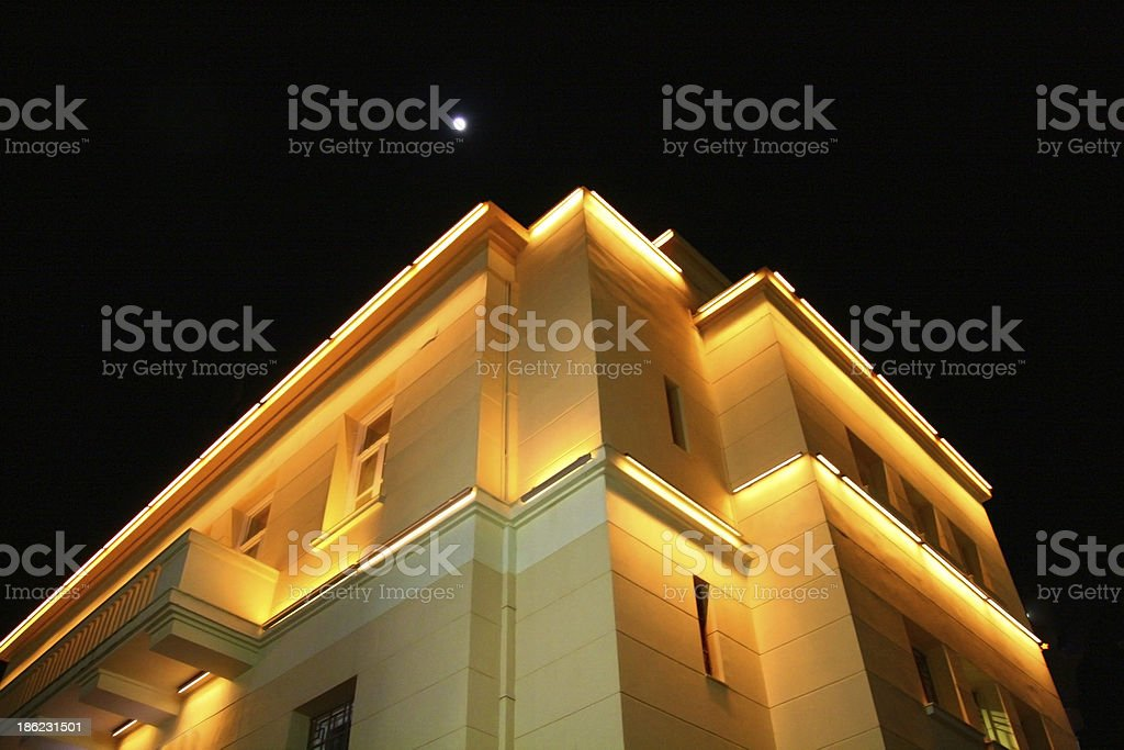 Under the moon new classic building stock photo
