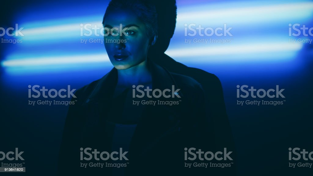Under the neon lights stock photo