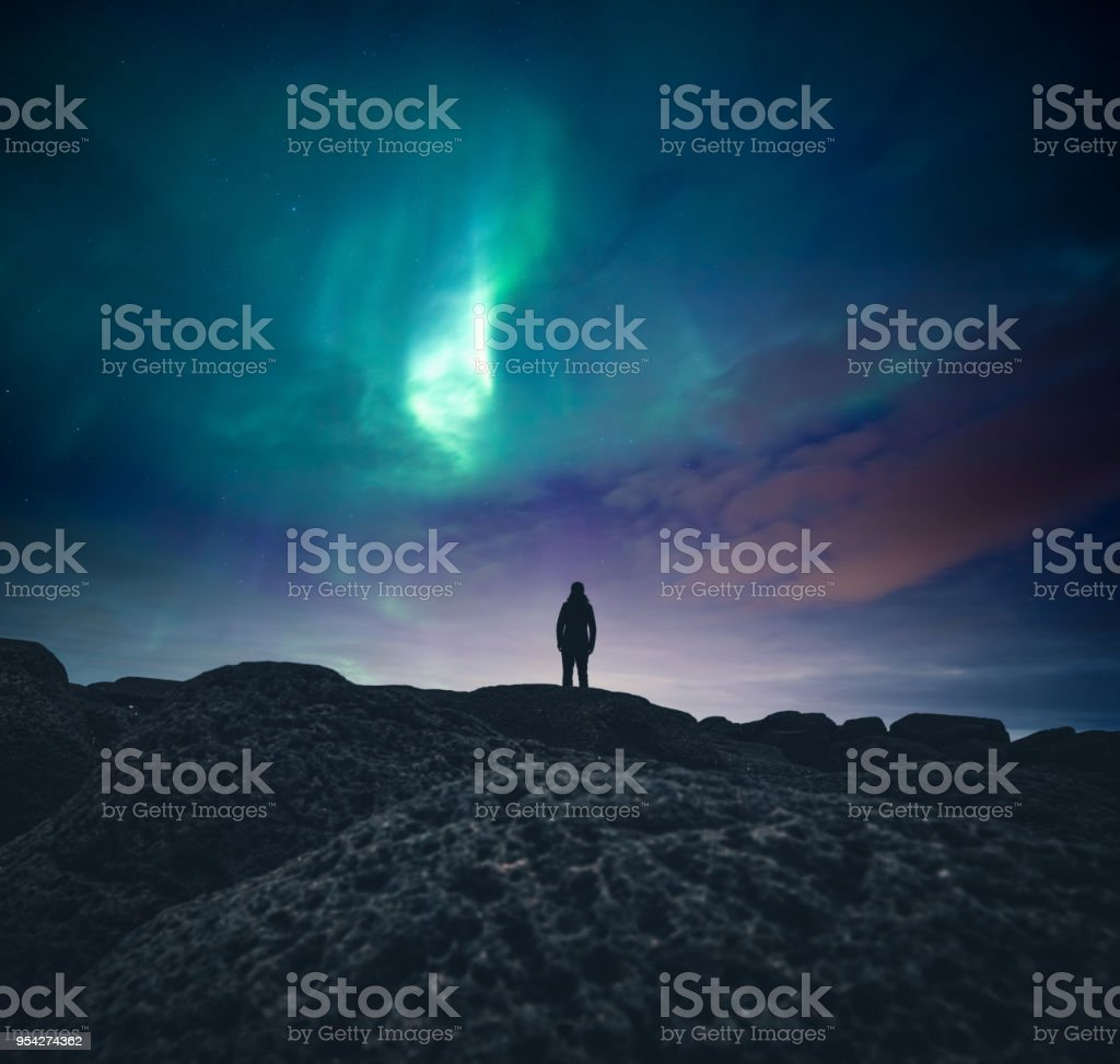 Under The Northern Lights stock photo