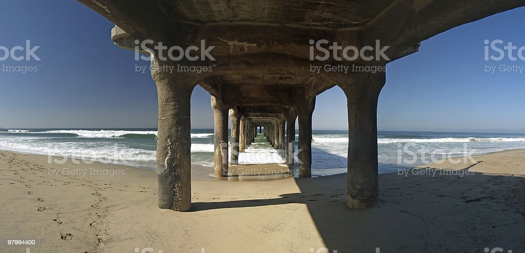 Under the pier panoramic royalty-free stock photo