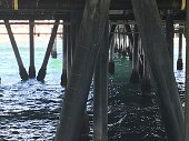 under the pier in Santa Monica, California on a sunny day