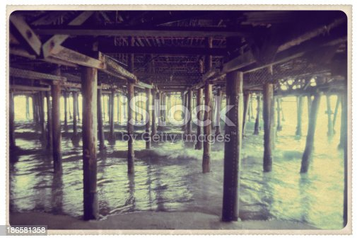 Retro-styled postcard of the view from beneath the pier in Santa Monica, California -- all artwork is my own...For hundreds of similar vintage postcards from around the world, click the banner below.