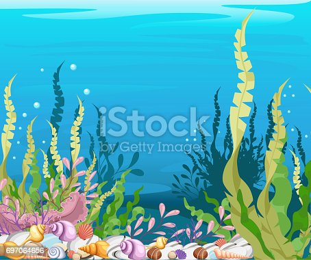 istock under the sea vector background Marine Life Landscape - the ocean and underwater world with different inhabitants. For print, create videos or web graphic design, user interface, card, poster. 697064656