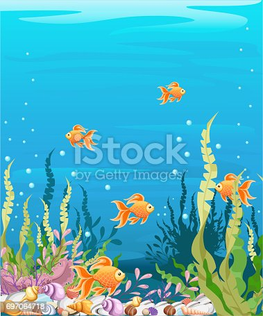 istock under the sea vector background Marine Life Landscape - the ocean and underwater world with different inhabitants. For print, create videos or web graphic design, user interface, card, poster. 697064718