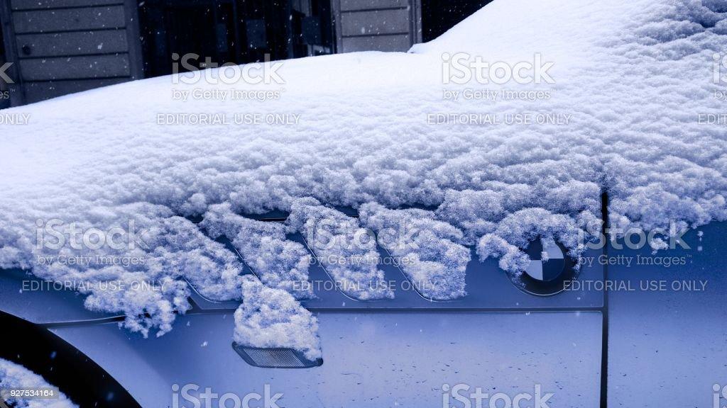 BMW under the snow stock photo