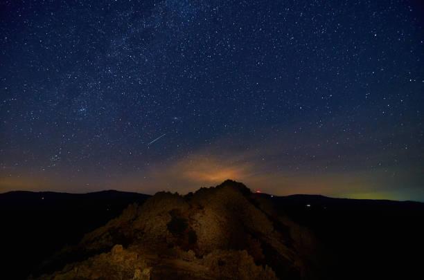 Under the stars at Kokino observatory in Macedonia. stock photo