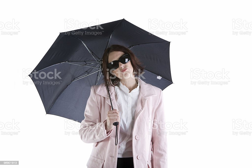 Under the Umbrella Making Faces royalty-free stock photo
