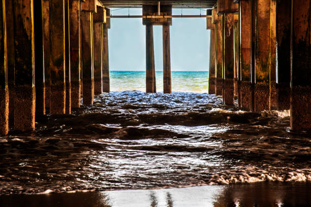 Under the wooden boardwalk on Atlantic City Beach, New Jersey stock photo