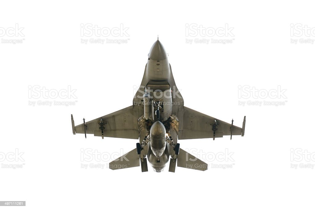 Under view F-16 Under view landing F-16 on white background Air Force Stock Photo