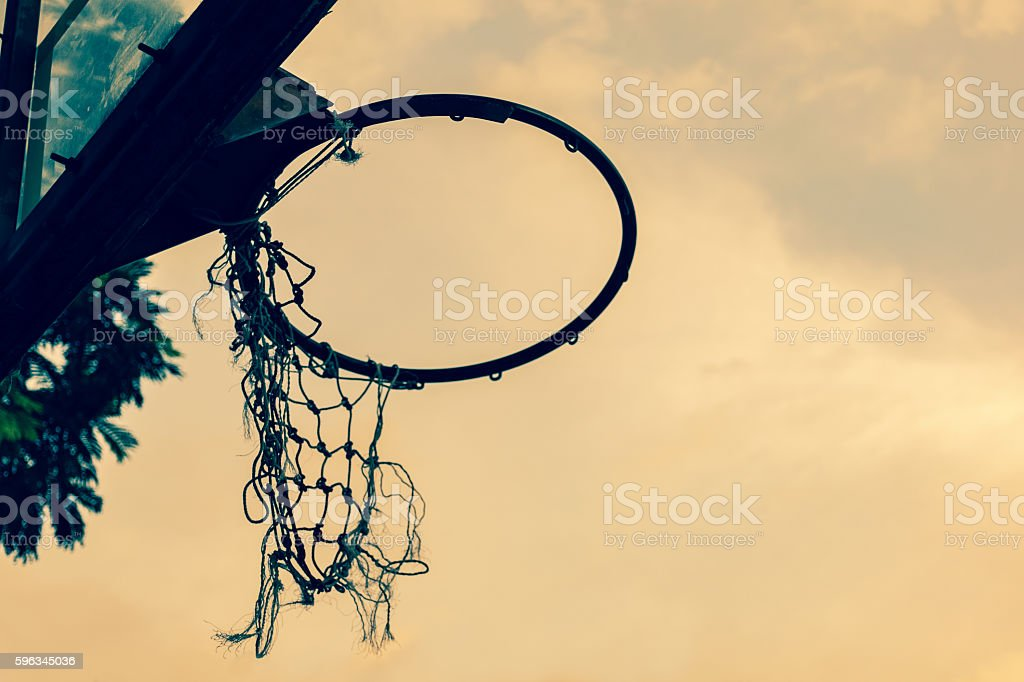 under view of old basketball hoop royalty-free stock photo