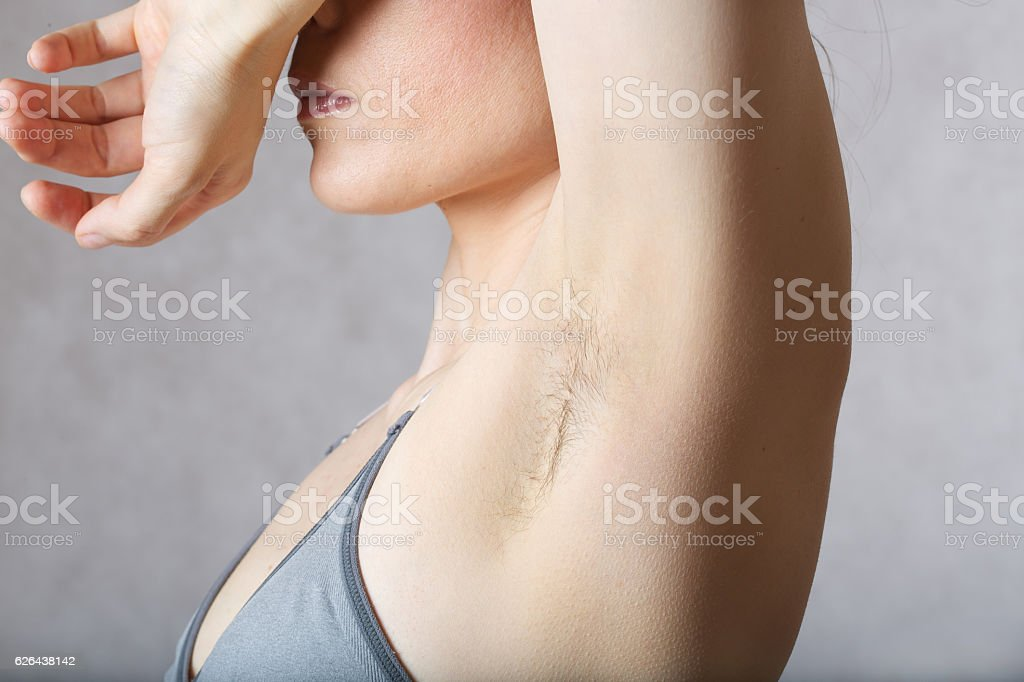 Underarm hair before depilation. Closeup stock photo