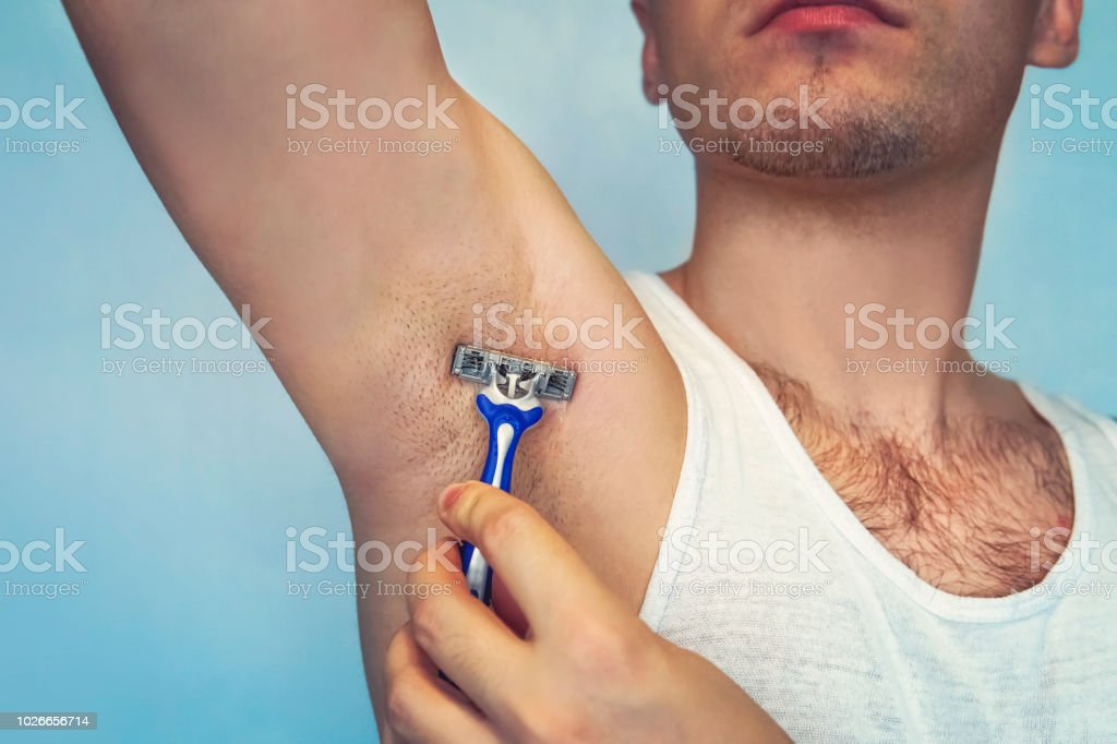 Underarm Hair Removal Male Depilation Young Attractive Muscular Man