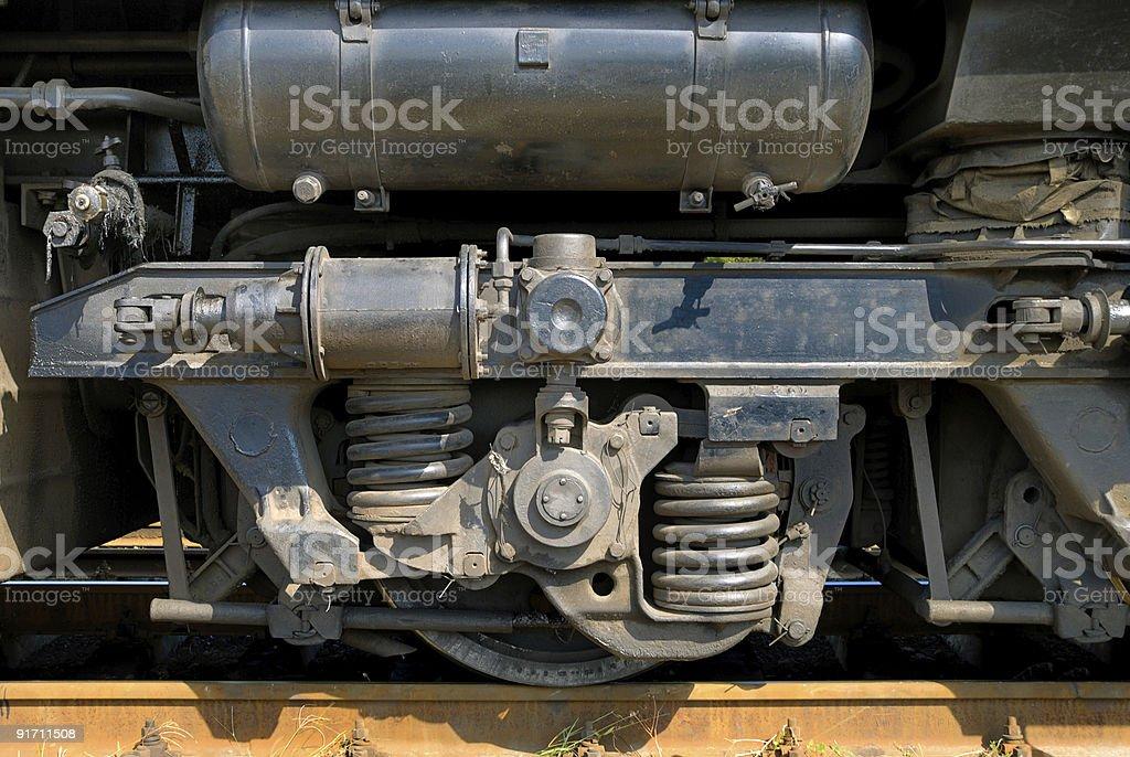 Undercarriage wheel of the railroad train stock photo
