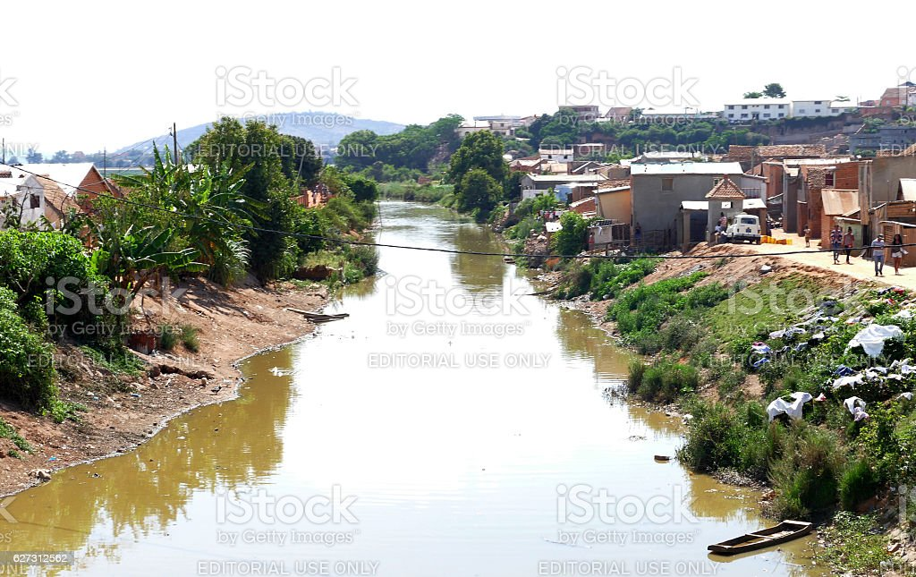 Underdeveloped city Antananarivo. People live in unhygienic conditions stock photo