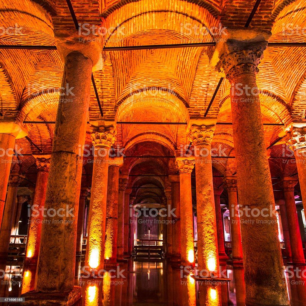 U-Basilika-Zisterne, Istanbul, Türkei. Lizenzfreies stock-foto