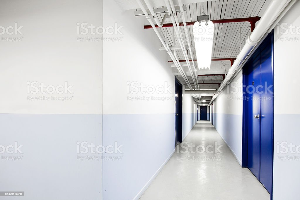 Underground Blue Corridor stock photo