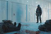 Underground bunker laboratory and zombie outbreak.