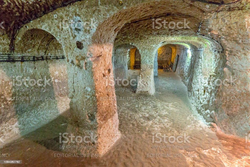 Underground city of Derinkuyu, Cappadocia, Turkey stock photo